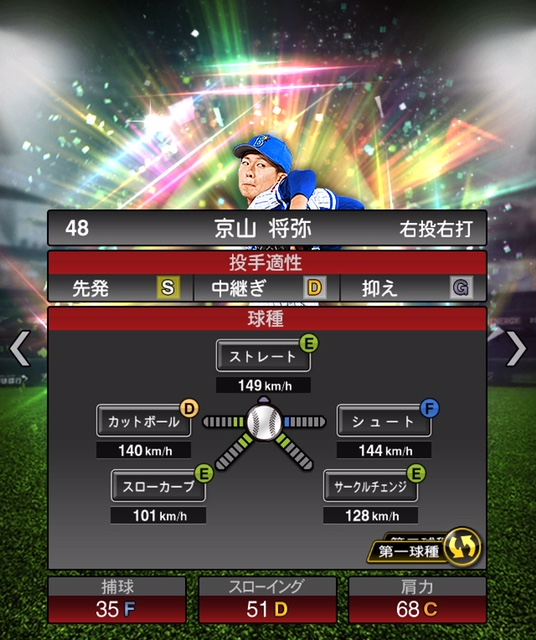 2019-rc-京山将弥-投手適性-第一球種
