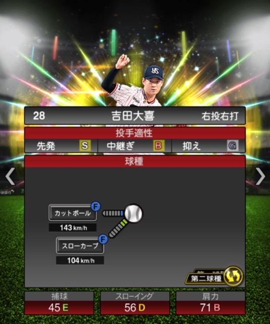 2020-s2−吉田大喜−投手適性−第二球種