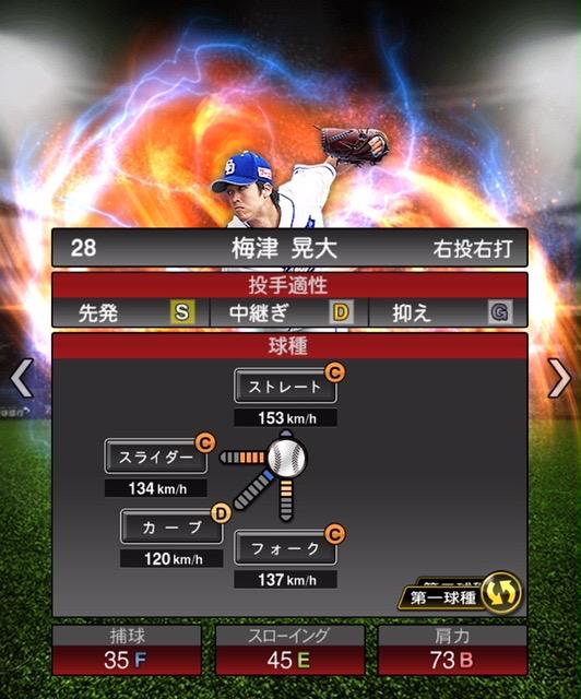 2020-s2−梅津晃大−投手適性−第一球種