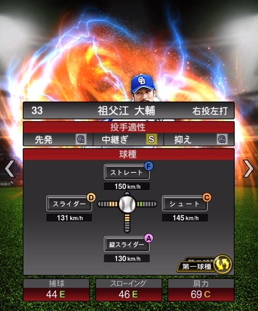2020-s2−祖父江大輔−投手適性−第一球種