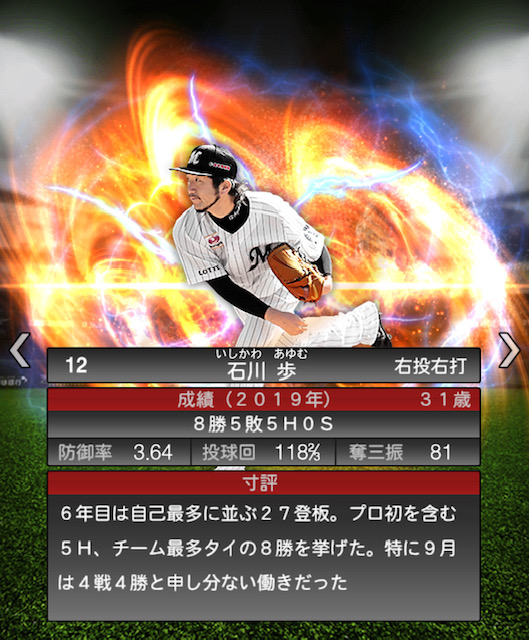 プロスピ-石川歩-成績